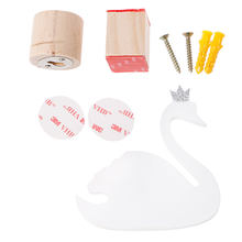 Drop Ship Cute Swan Wooden Clothes Hooks Hanger Wall Decor Children Bedroom Ornaments(China)
