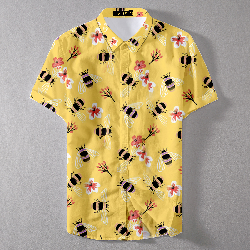 2019 Summer Quick Drying Oversize Men Little Bee Printed Casual Shirt