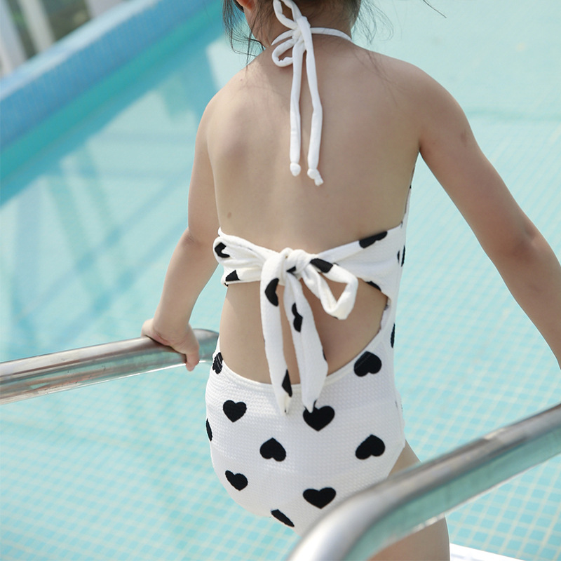 2019momasong New Style Halter GIRL'S Swimsuit Heart Shape Printed Cute One-piece KID'S Swimwear With Cap