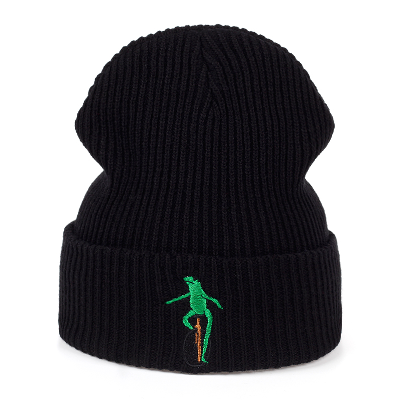 New Embroidery Wheelbarrow Frog Winter warm hat Curved Bill Green Frog Pepe Fitted Hats men women Frog Beanies Hat Gorras