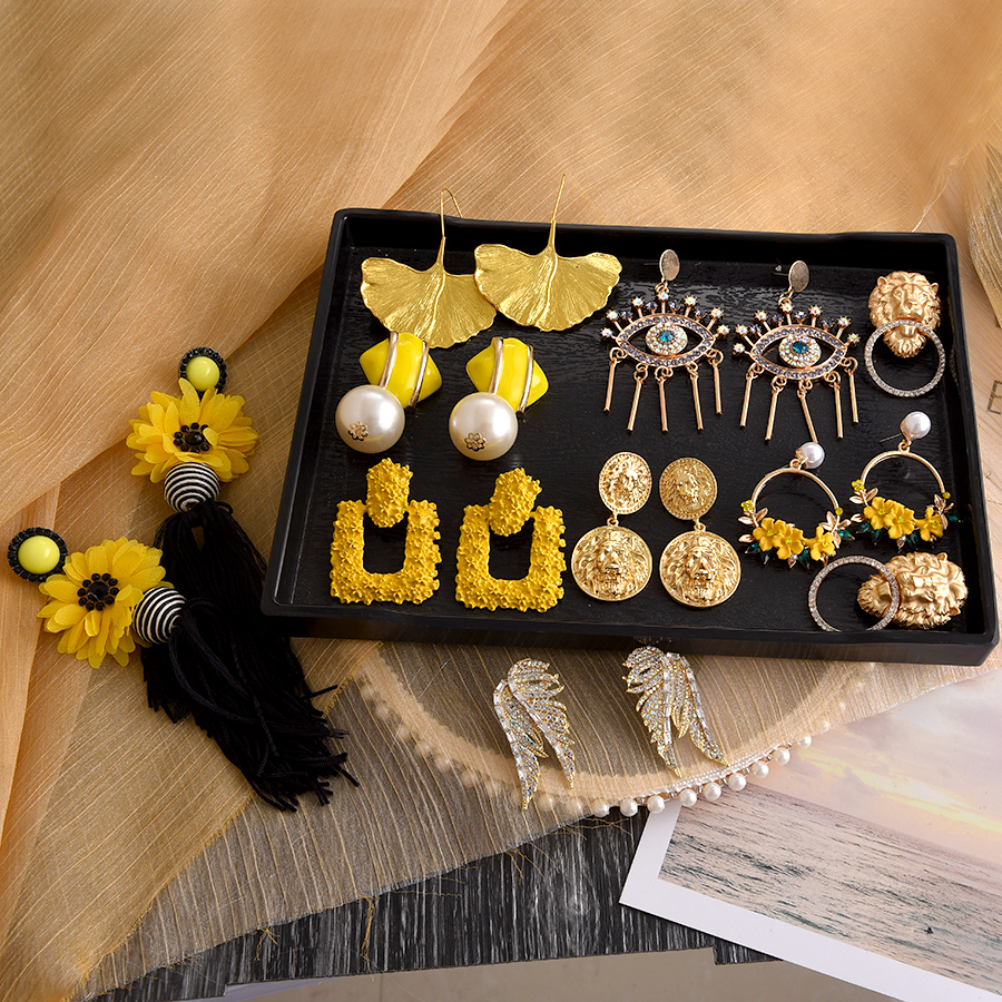 Ztech 30 Summer Yellow Tassel Stone Crystal Flower Statement Earrings For Women Handmade Dangle Drop Earrings Wedding Jewelry
