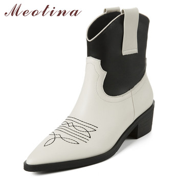 Meotina Autumn Western Boots Women Natural Genuine Leather Square Heels Ankle Boots Mixed Colors Pointed Toe Shoes Female 34-39