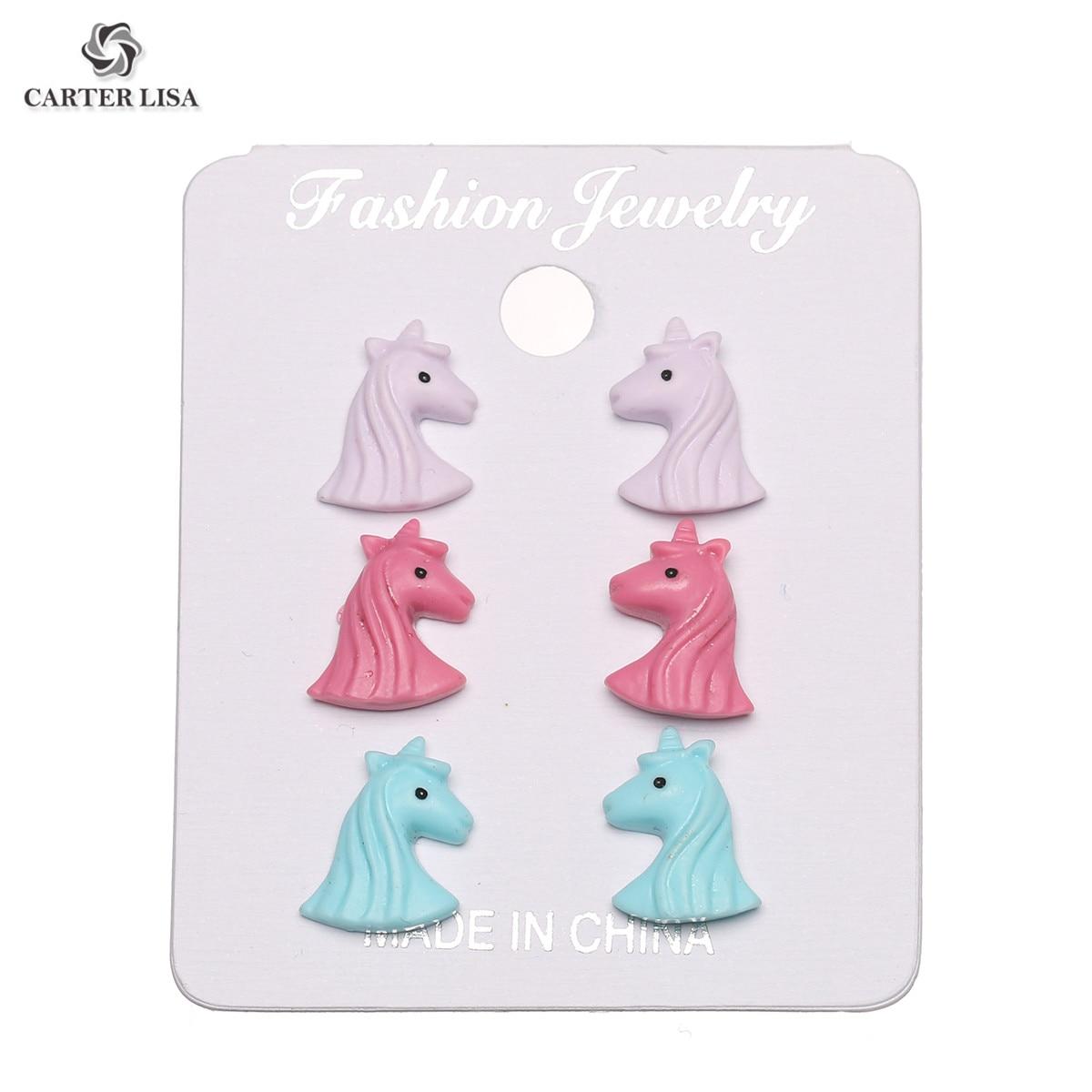 CARTER LISA Cute Handmade Candy Color Push Back Horse Head Animal Stud Earrings For Women & Girls