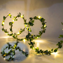 купить 10M 100LED Leaf Twine Copper wire String Lights Battery/USB Christmas Garlands Fairy Light Outdoor For Party Wedding  Decoration по цене 259.87 рублей