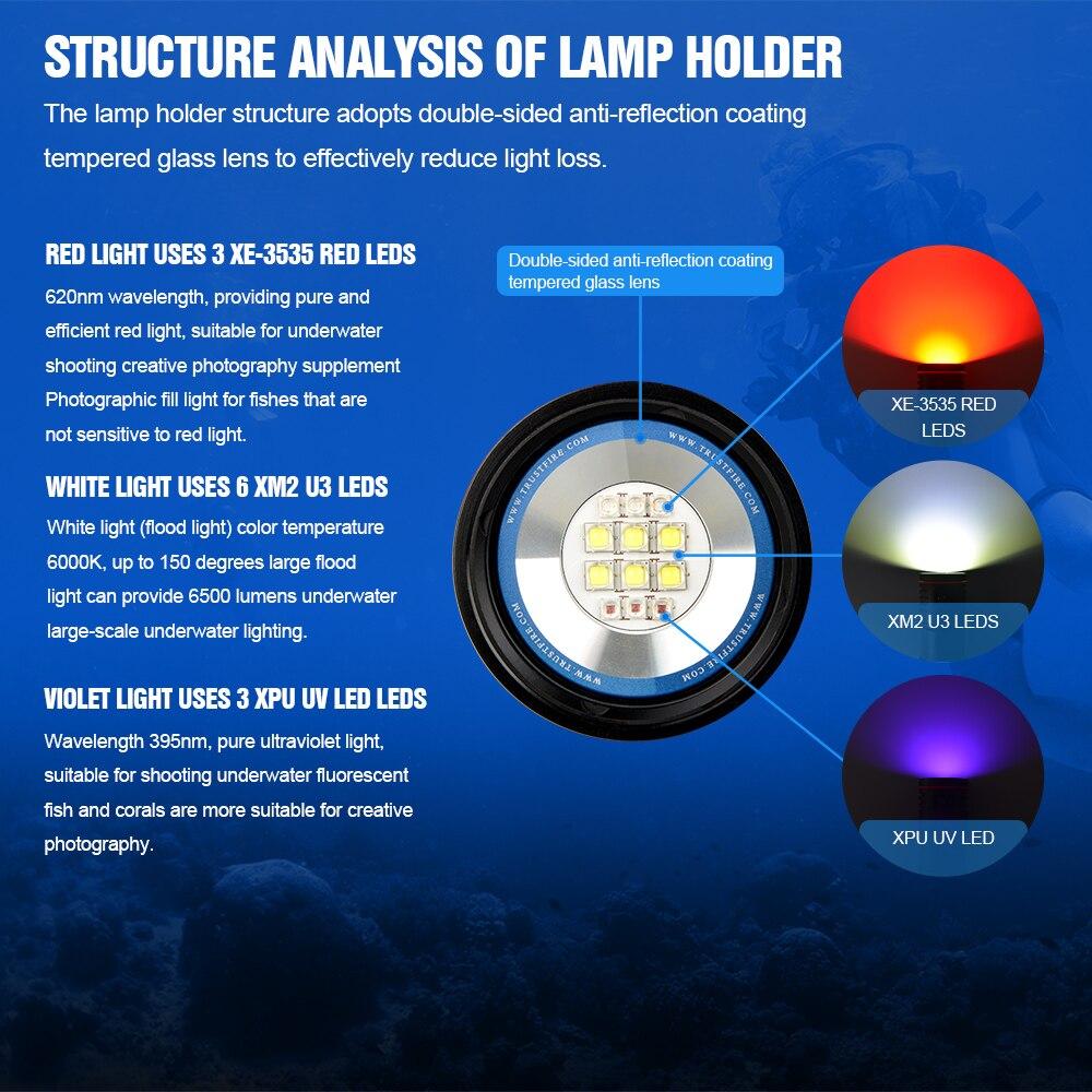 lumen fotoraphy luz subaquatica 100m iluminacao alta brilhante led tocha 02