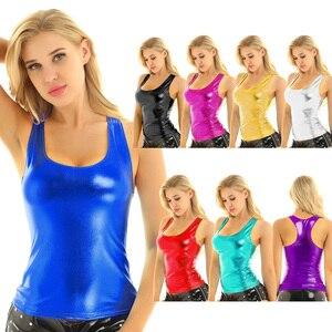 Image 2 - iiniim Womens Femme Fashion Clubwear Punk Dance Tanks Tops Shiny Metallic Racer Back Slim Fit Summer Camisole Tank Top Vest Top