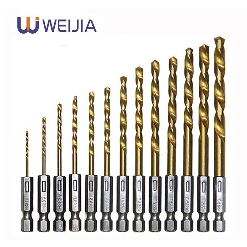 Drill Bit Set 6.35mm 1/4 Inch Hex Shank Twist Bits Multifunction Tools Electric Screwdriver Drill Wind Bit Wood Drilling 13pcs