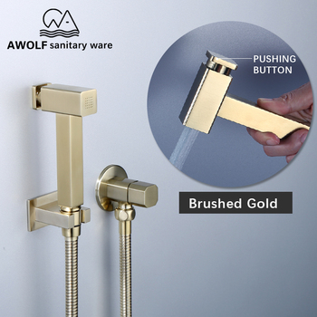 цена на Toilet Shattaf Hand Held Bidet Sprayer Solid Brass Brushed Gold Douche Kit With Pushign Button Square Shower Set AP2204