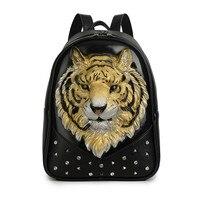 3D Embossed Tiger Head Studded Rivet Gother Men Backpack Women Mini Leather Soft Travel punk rock Backpack Laptop Halloween Bag
