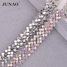 JUNAO SS16 Glitter Sewing AB Crystal Tape Glass Rhinestone Chain Trim Silver Metal Cup Applique for Dress Crafts