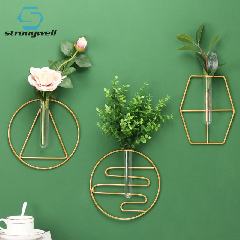13.19US $ 40% OFF Strongwell Nordic Simple Ins Iron Geometric Glass Vase Hydroponic Wall Decoration ...