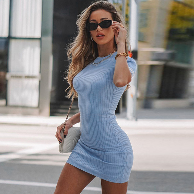 O-Neck Ribbed Knitted Casual Short Dresses