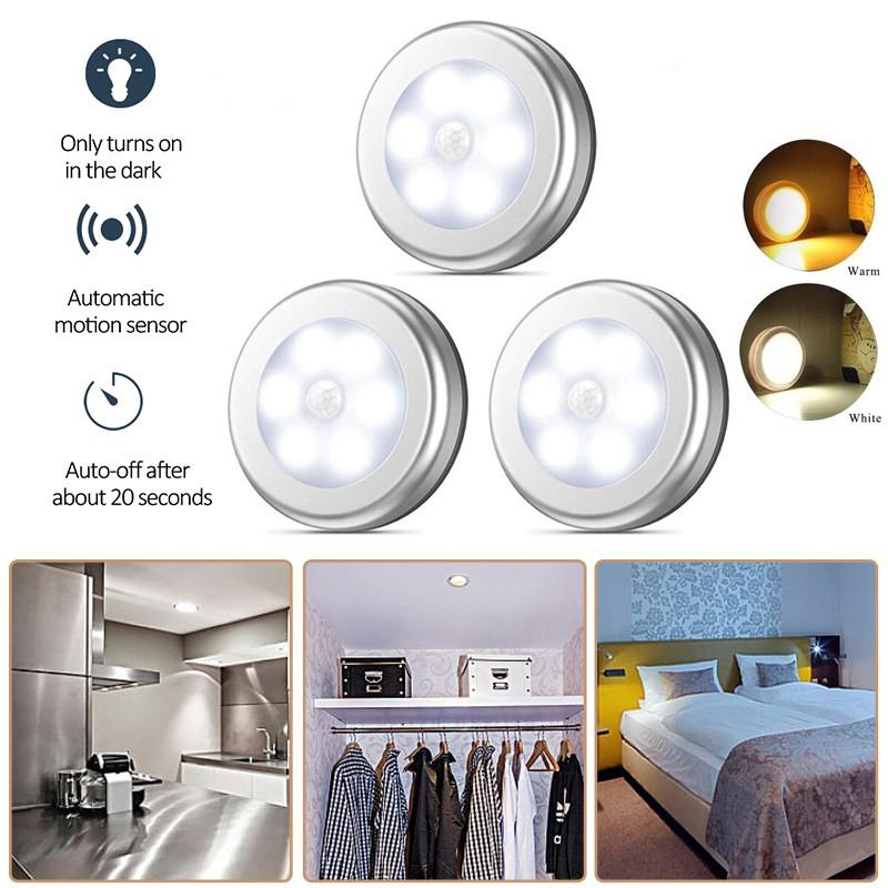 Motion Sensor 6 Led Night Light Wireless Detector Light Magnetic Wall Lamp Light Auto On/Off Closet Stair Under Closet Light