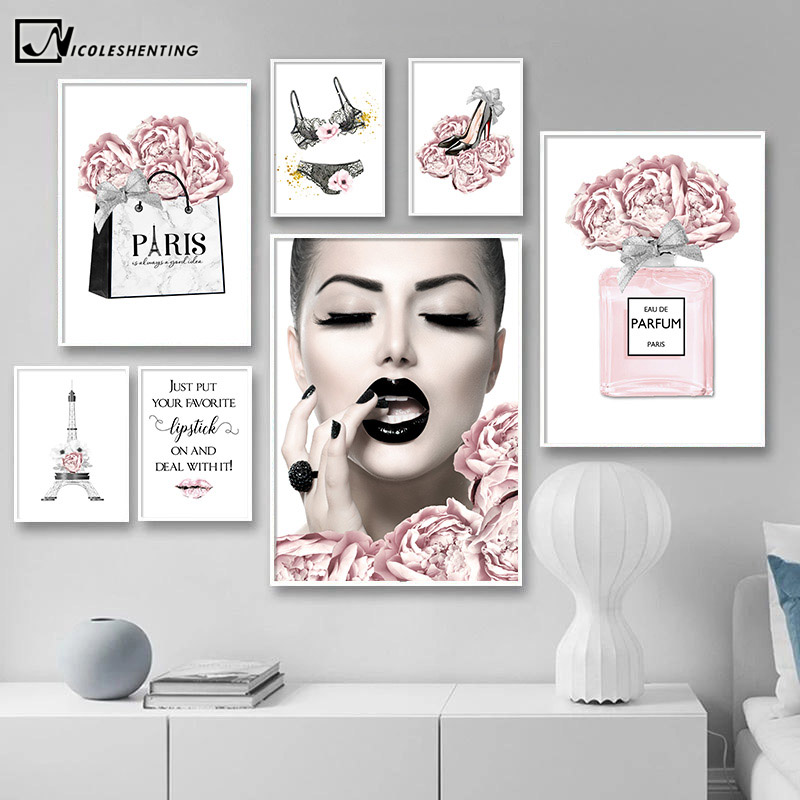 Fashion Wall Art Painting Eiffel Tower Underwear Heels Canvas Poster Print Pink Flower Trendy Picture Beauty Room Decoration(China)