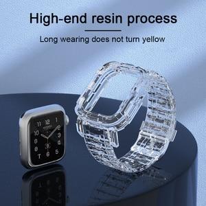 Ремешок и чехол прозрачный для Apple Watch Series 6 SE 5 4 44 мм 42 мм, пластиковый браслет для iwatch 3 2 1 38 мм 40 мм