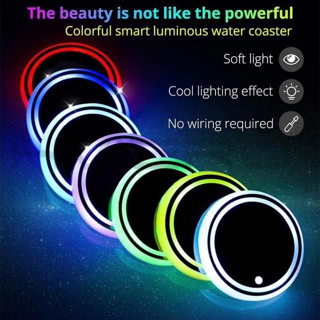 1X Auto Led Car Cup Holder Bottom Pad LED Hub Lamp Cover Trim Atmosphere Lamp Welcome Light Anti-slip Mat Colorful Light Coaster