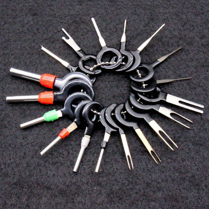 18Pcs Automotive Plug Terminal Remove Tool Set Key Pin Car Electrical Wire Crimp Connector Extractor Kit Accessories