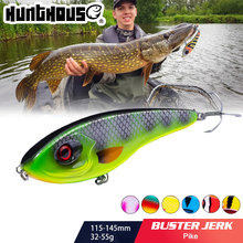 Hunthouse Jerkbait Musky Buster Pike Fishing Lure 11.5/14.5ซม.32/52G Jerkเหยื่อVIBช้าbig Bass Pesca Westin