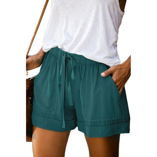 12 Colors Casual Women Short Pants Simple Drawstring Pockets Summer Elastic Waist Loose Home Fashion Streetwear Ladies Pant 4
