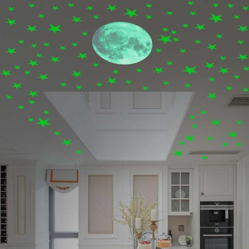 167 шт./компл. светится в темноте настенный потолочный стикер s светящиеся звезды и луна стикер DIY ночной детской комнаты спальни декоративные Декорации для дома