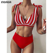 INGAGA-Bikinis de cintura alta para mujer, trajes de baño del 2021, bañador envolvente superior, ropa de playa con lazo de tirantes, conjunto de Bikini a rayas