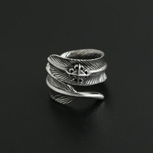 925 sterling silver fine jewelry for men women feather fashion opening couple gift ladies ring 925 Sterling Silver Jewelry Men Women Feather Bohemian Opening Engagement Ring Couple Custom Adjustable Ring