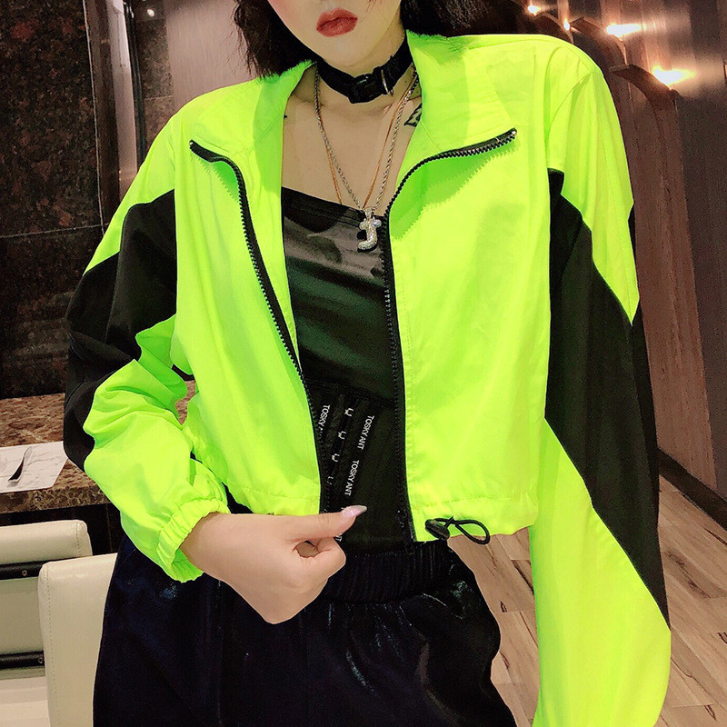 Focal20 Streetwear Neon Hit Color Women Crop Jacket Coat Patchwork Zip Up Lady Outer Top Casual Loose Spring Lady Jackets Coats 1