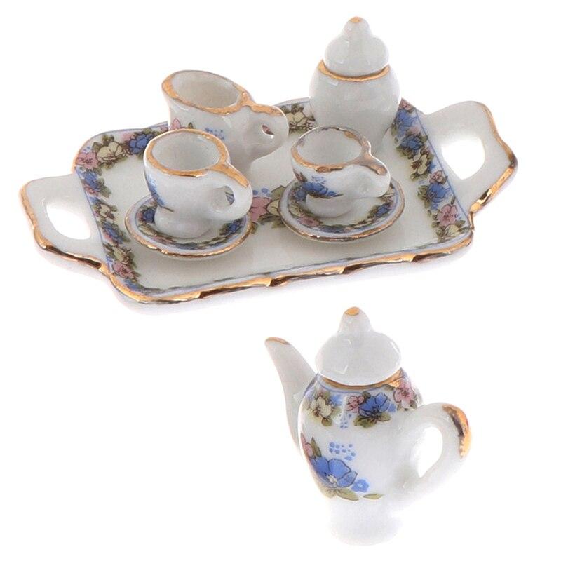8Pcs Dollhouse Miniature Dining Ware Porcelain Tea Set Dish Cup Plate -White Purple Flower Pattern Doll House Furniture Toys