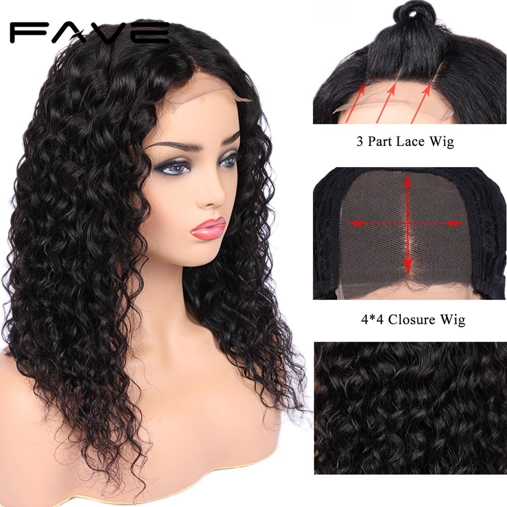 FAVE Closure Wigs 100% Brazilian Remy Human Hair Wig 4*4 Lace Closure Water Wave Wigs Pre Plucked Bleached Knots For Black Women-in Human Hair Lace Wigs from Hair Extensions & Wigs    1