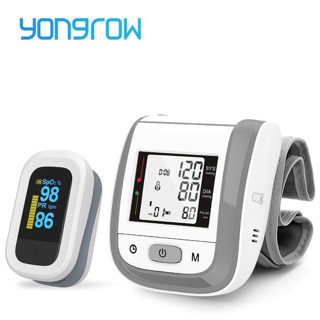Yongrow OLED الإصبع نبض مقياس التأكسج و LCD المعصم ضغط الدم رصد الأسرة الرعاية الصحية هدية