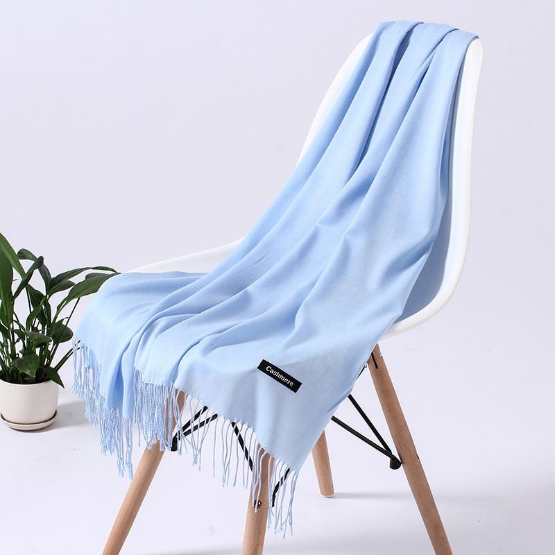 Однотонный кашемировый шарф для женщин новые длинные мягкие шали и палантины пашмины модные хиджаб с кисточками женские шейные шарфы - Цвет: 110g light blue