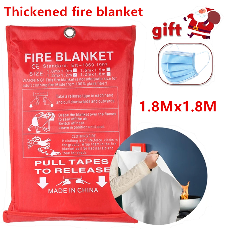 1.8M x 1.8M fireproof blanket, glass fiber fireproof and flame retardant emergency survival shelter safety cover, fireproof emer