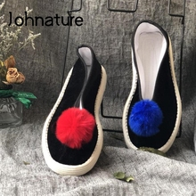 Johnature 2021 New Flats Women Shoes Retro Cotton Fabric Casual Round Toe Handmade Shallow Concise Special Leisure Ladies Shoes