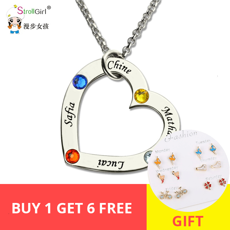StrollGirl Birthstone Heart Necklace Custom Engraved Name Jewelery 925 Sterling Silver Family Necklace Pendant For Gifts 2019 in Pendant Necklaces from Jewelry Accessories