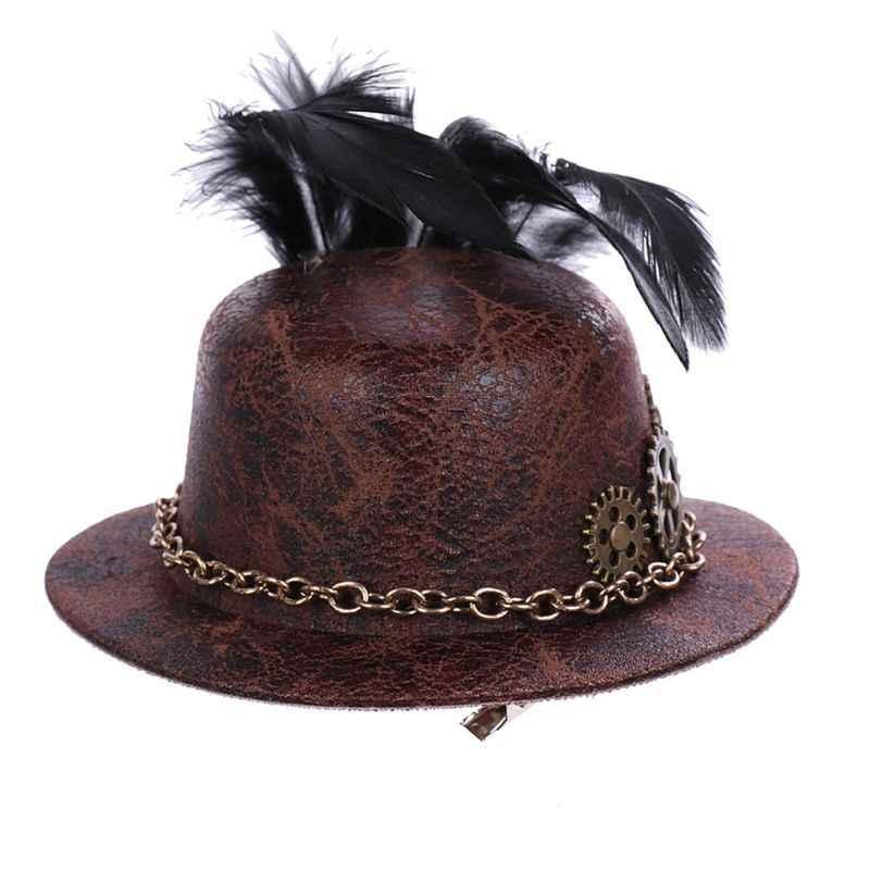 Mini Top Hat Steampunk Head Wear Women Costume Feather Gear Hair Clip