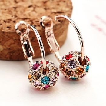 NPKDS, gran oferta, pendientes Punk a la moda, bonitos pendientes de cristal con bola de la suerte, pendientes para mujer