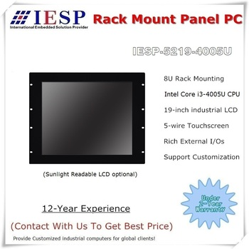 19 inch Rack mount Industrial Panel PC, Core i3-4005U CPU, 4GB RAM, 64GB SSD, 4*RS232, fanless industrial computer