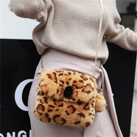 IANLAN Casual Women Real Rex Rabbit Fur Wallets Coin Purses Leopard Handbags / Shoudler Bags IL00547