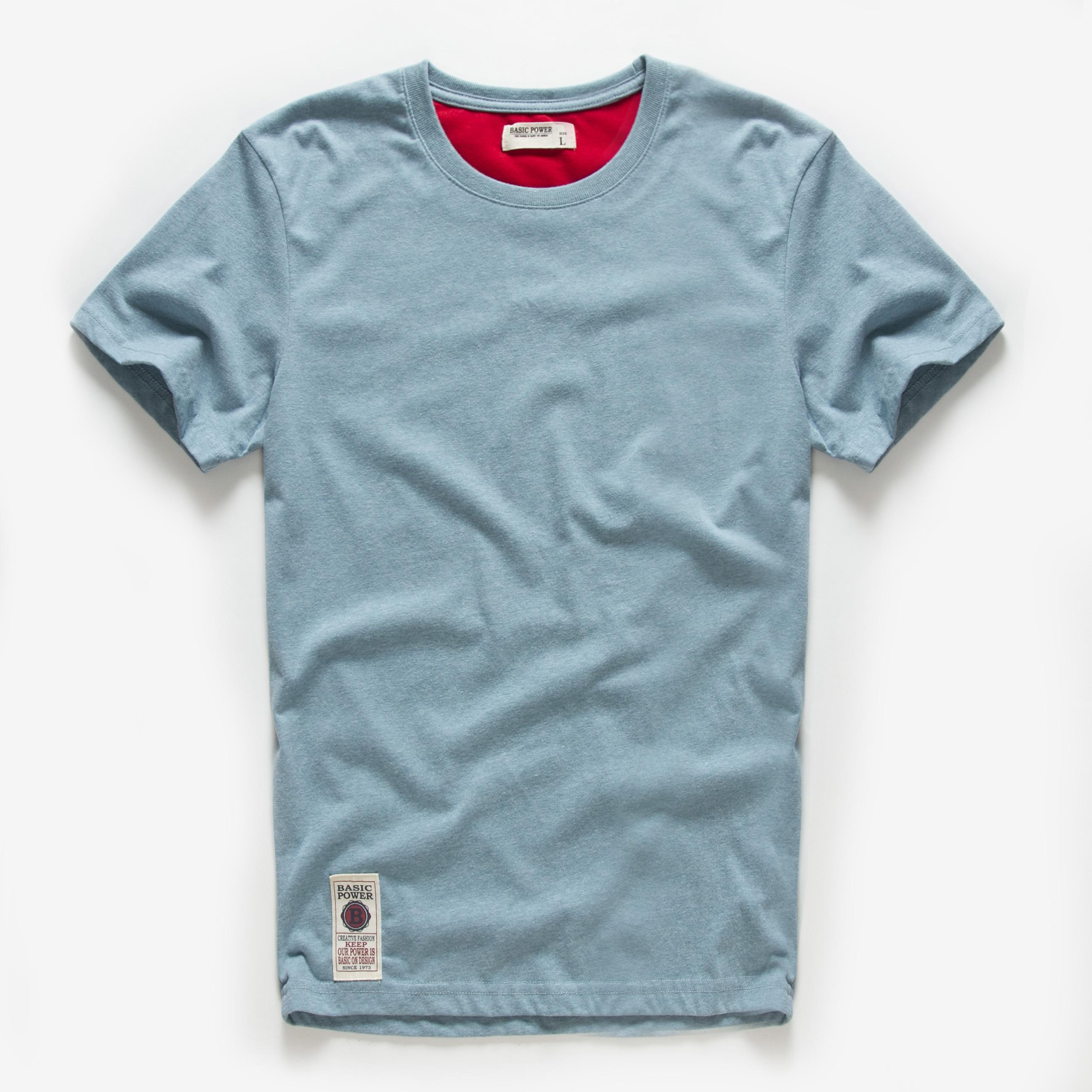 Новая летняя мужская футболка из хлопка, белая однотонная футболка, Мужская Повседневная Базовая футболка с круглым вырезом, мужские класс...