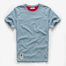Novo verão camisa masculina de algodão sólido t camisa masculina causal o pescoço básico tshirt masculino alta qualidade clássico topos