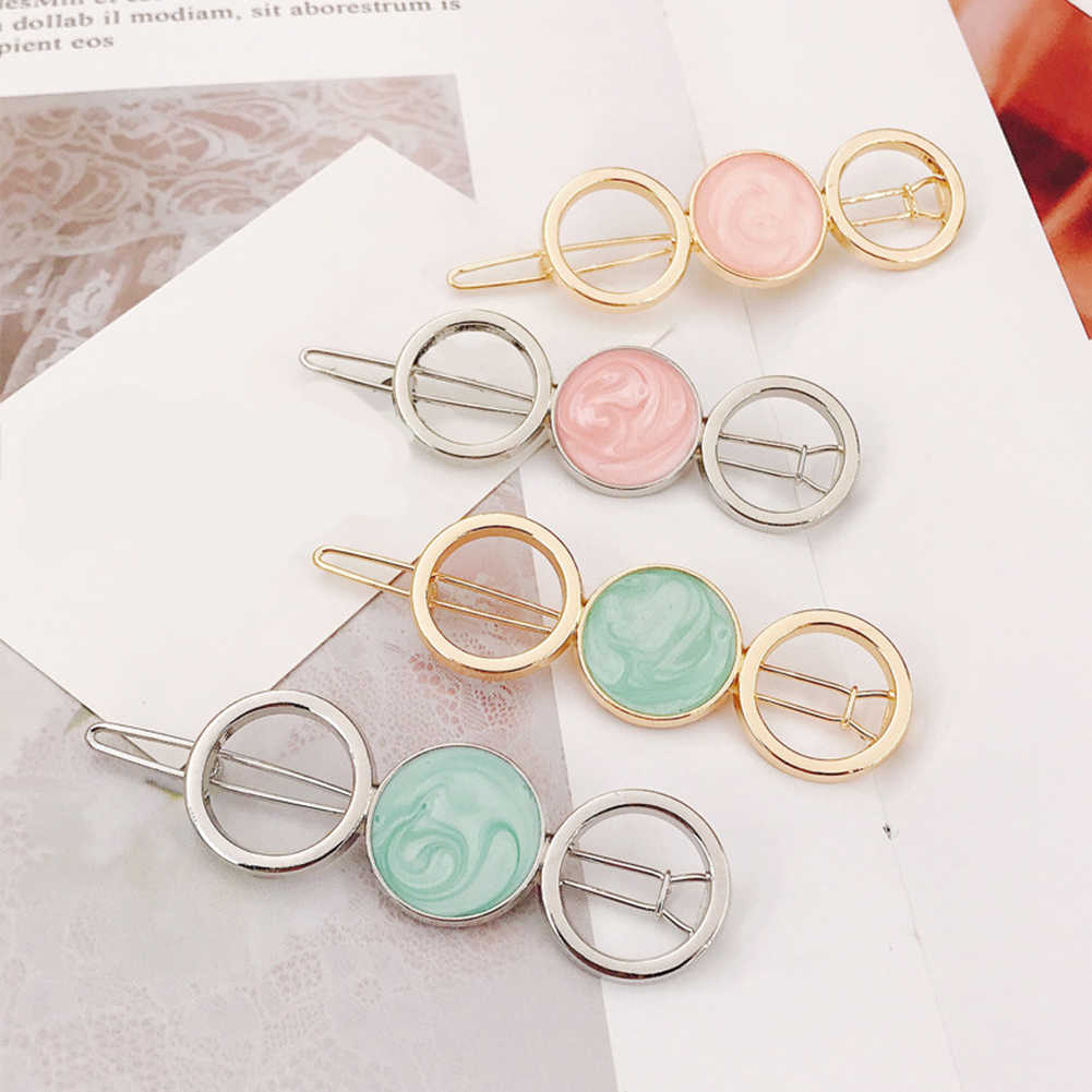 Geometric Chic Five-pointed Star Round Acetate Alloy Hair Clip Hairpin Women Hair Barrette Girl Beauty Hair Accessories