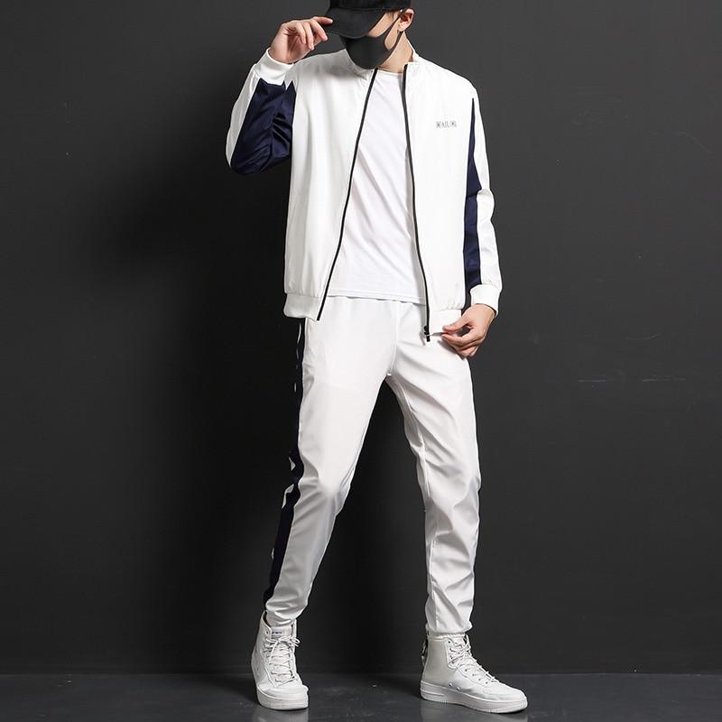 Men Autumn Casual Cotton Sportswear Jacket Sets Tracksuit For Men Teens Spring Fashion 2 Piece Sweatshirt Sweatpants Sets Men