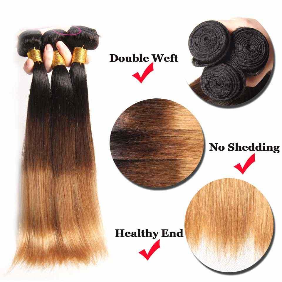 Ombre Gerade Haar Bundles Brasilianische Haarwebart Bundles Honig Blonde Remy Ombre Menschliches Haar Extensions 3 4 Bundles Deal