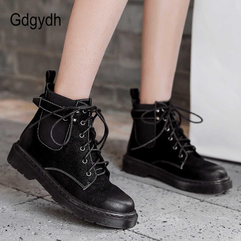 Gdgydh siyah yarım çizmeler kadın 2019 sonbahar kış ayakkabı kauçuk taban Lace Up bayan botları düşük topuk dikiş peluş kaliteli