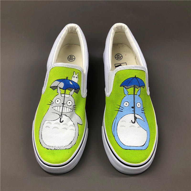 Wen Anime Hand Painted Shoes Design Custom My Neighbor Totoro Men Women's Slip On Canvas Shoes Christmas Birthday Gifts