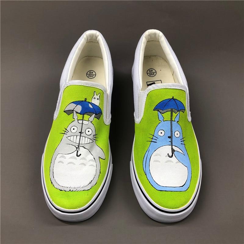 Wen Anime Hand Painted Shoes Design Custom My Neighbor Totoro Men Women's Slip On Canvas Shoes Christmas Birthday Gifts