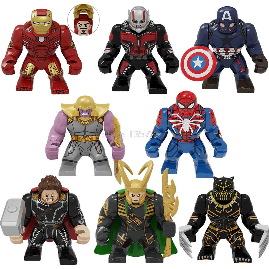 7cm Super Hero Big Action Figure Building Block Toys Iron Man Ant-Man Captain America Loki Thor Spider-Man Legoing PG8258