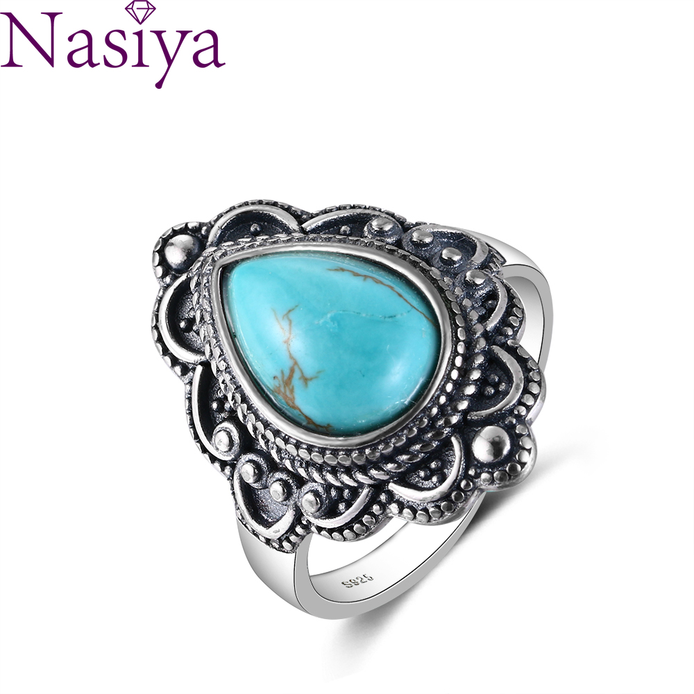 S925 Sterling Silver Rings Turquoise Gemstone Rings Natural Moonstone Lapis Ruby Ring for Women Gift Fine Jewelry