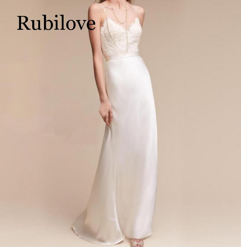 Rubilove 2019 Sling Lace Slim Long Traveler Light Dress Party White Maxi