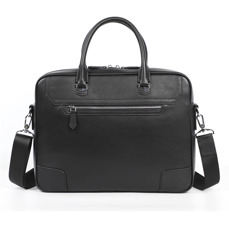 Nesitu High Quality New A4 Black Genuine Leather 14'' Laptop Office Men Briefcase Portfolio Business Travel Messenger Bags M6009